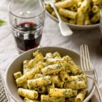 Rigatoni with Homemade Basil Pesto.