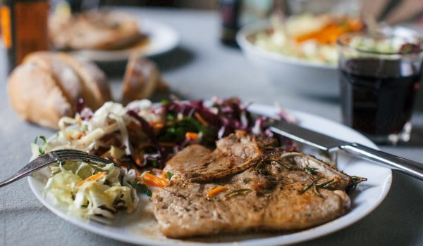Seared Pork Chop with Tangy Cabbage Salad